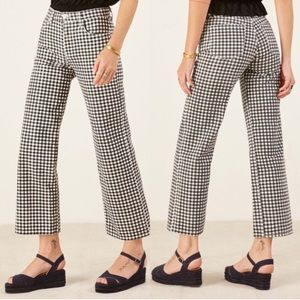 NWT Reformation Fawcett gingham high waisted jeans